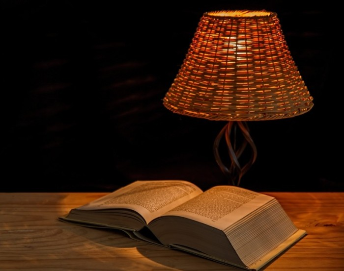 lamp-and-book-on-table